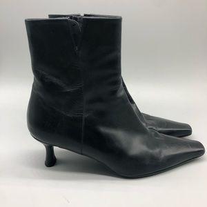 Stuart Weitzman black leather heeled booties